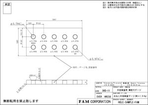 公差下限・中央・上限をチェックできるゲージの製図例