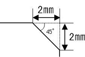 斜め45°の図