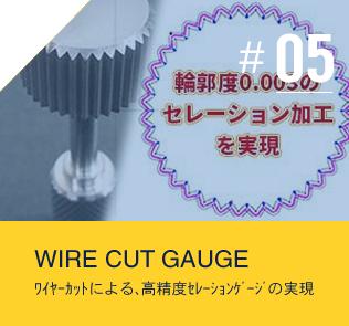 ワイヤーカットによる、高精度セレーションゲージの実現